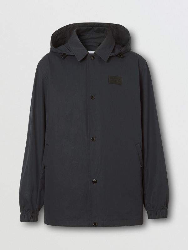 Detachable Hood Logo Appliqué Lightweight Jacket in Navy - Men | Burberry - cell image 3