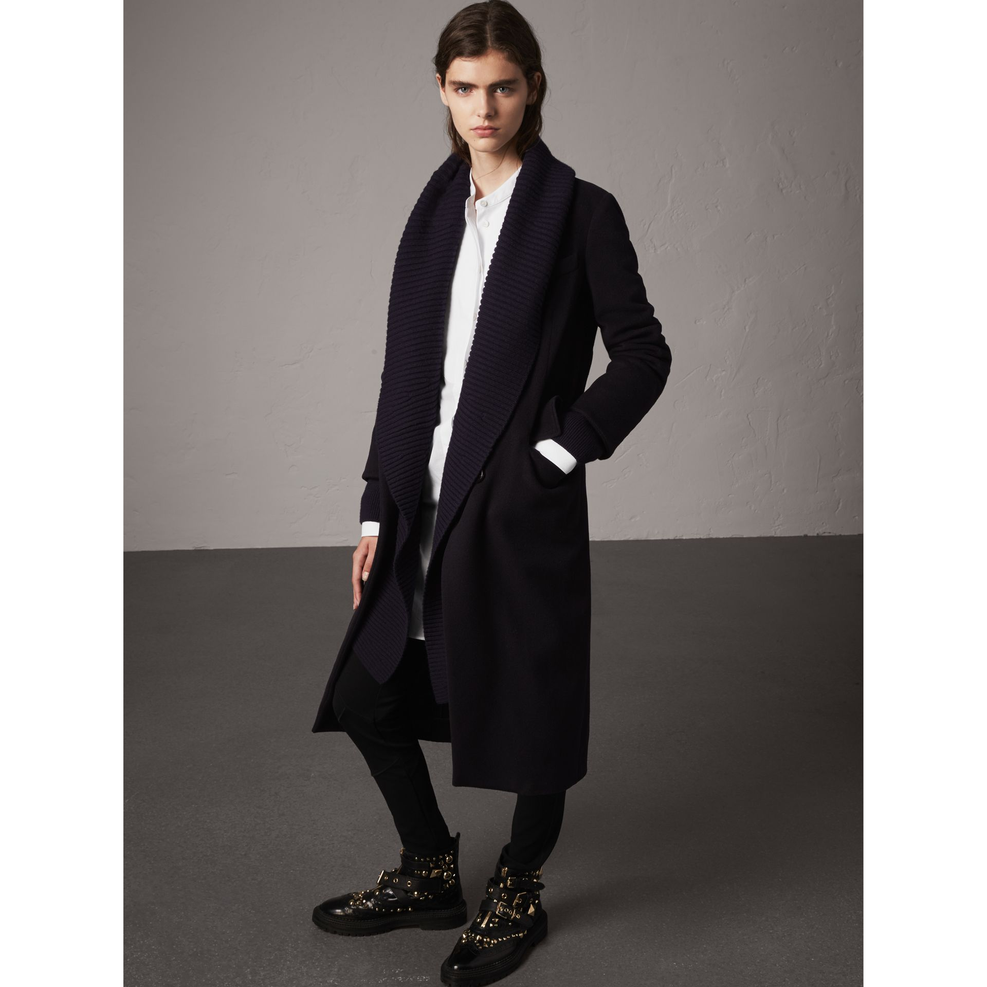 Detachable Rib Knit Collar Cashmere Coat in Navy - Women | Burberry Canada - gallery image 6