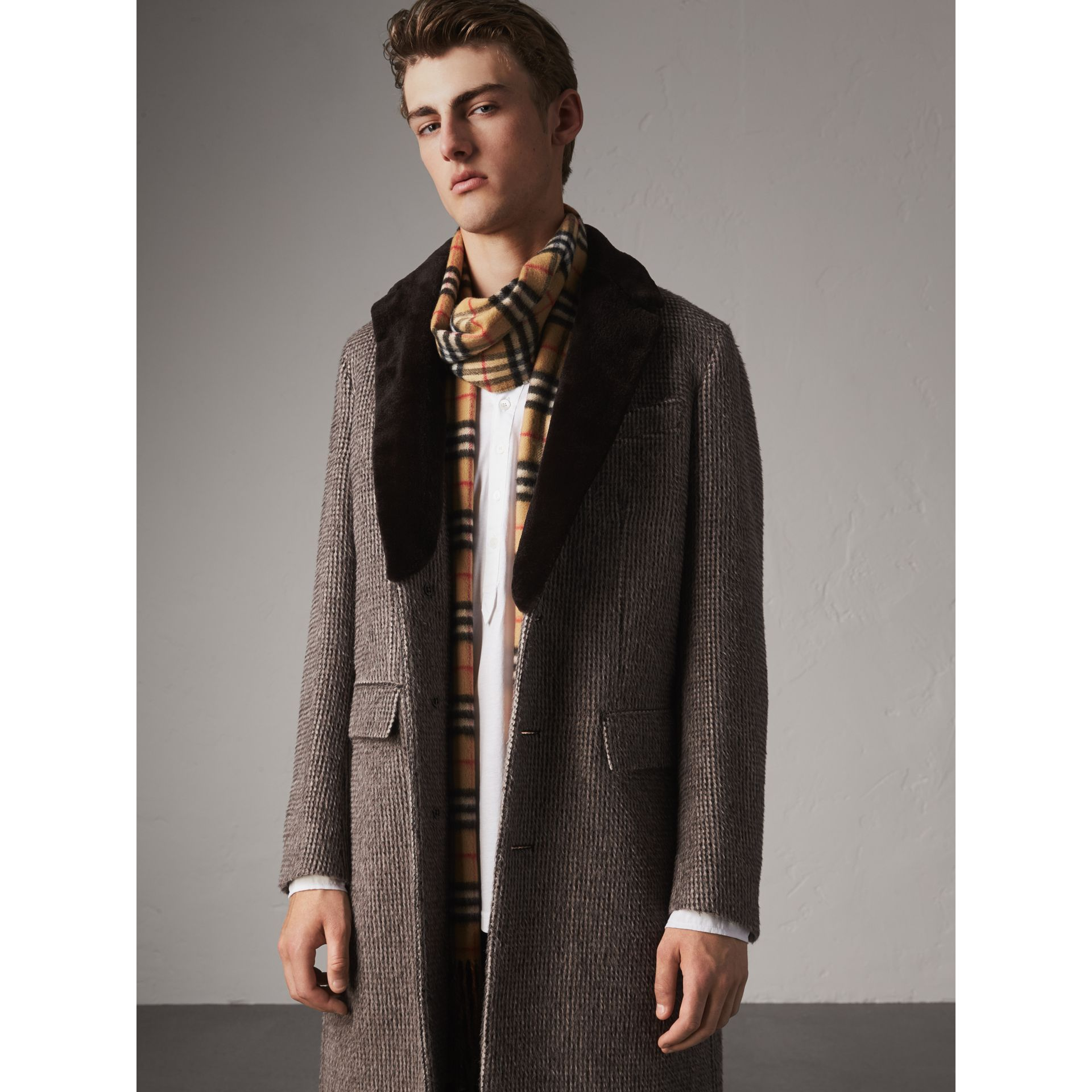 Detachable Mink Collar Alpaca Wool Tailored Coat in Dark Brown - Men | Burberry United Kingdom - gallery image 4