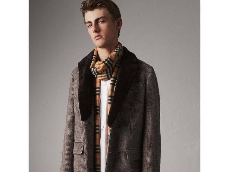 Detachable Mink Collar Alpaca Wool Tailored Coat in Dark Brown - Men | Burberry Hong Kong - cell image 4