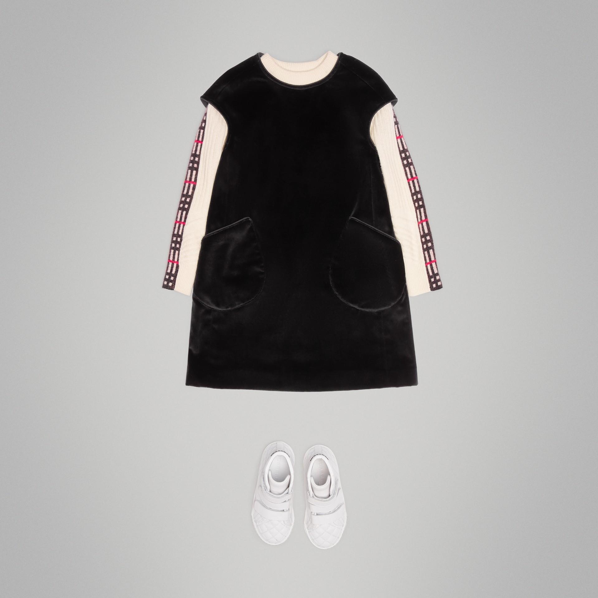 Piping Detail Velvet Shift Dress in Black | Burberry United States - gallery image 2