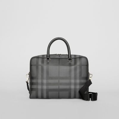 london-check-and-leather-briefcase by burberry