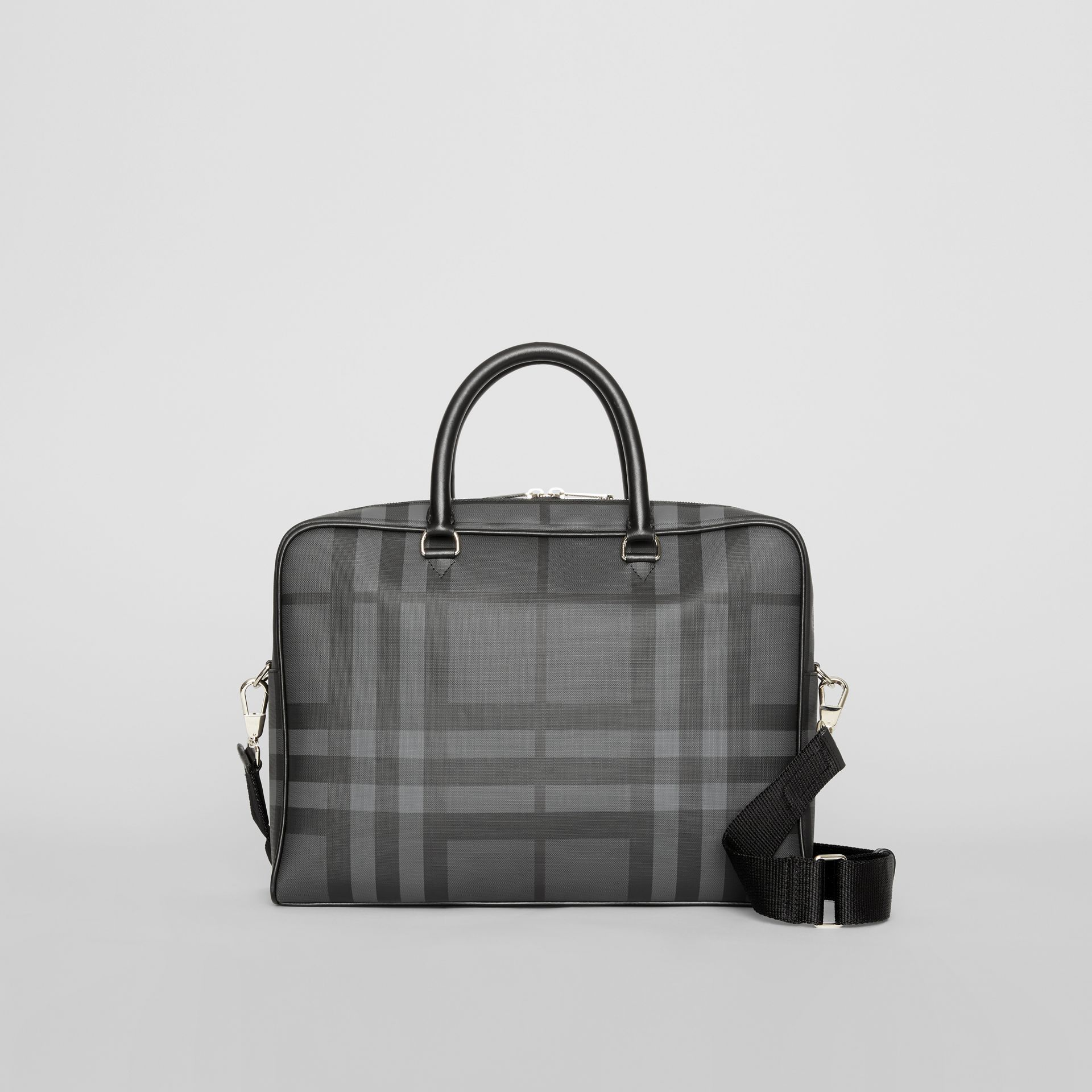 London Check and Leather Briefcase in Charcoal/black - Men | Burberry Australia - gallery image 0