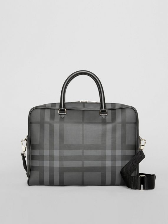 London Check and Leather Briefcase in Charcoal/black