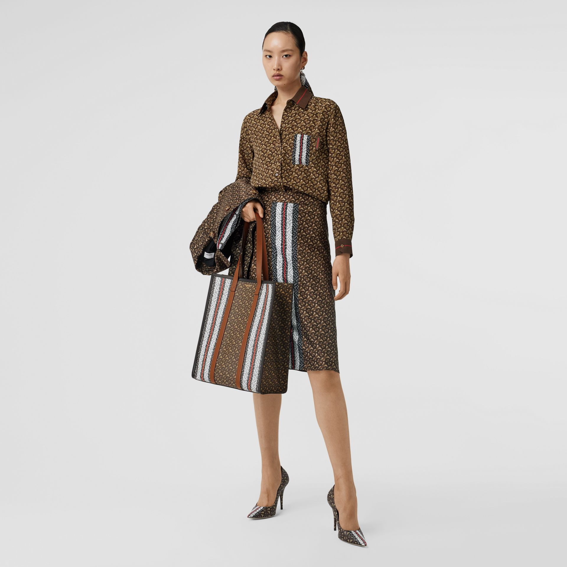 Monogram Stripe Print Silk Skirt in Bridle Brown - Women | Burberry United Kingdom - gallery image 0