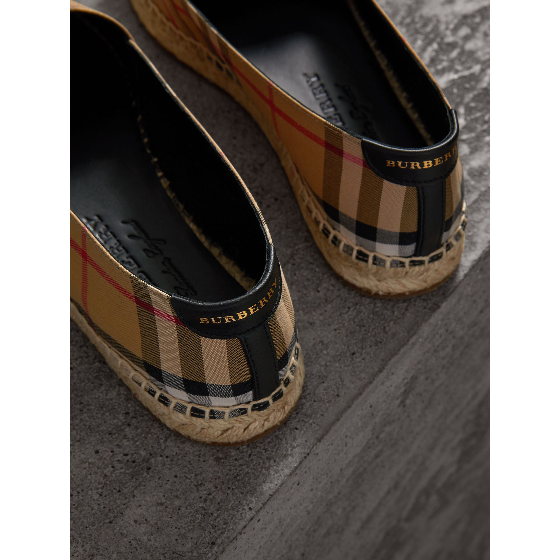 Vintage Check and Leather Espadrilles in Antique Yellow - Women | Burberry Singapore - gallery image 1