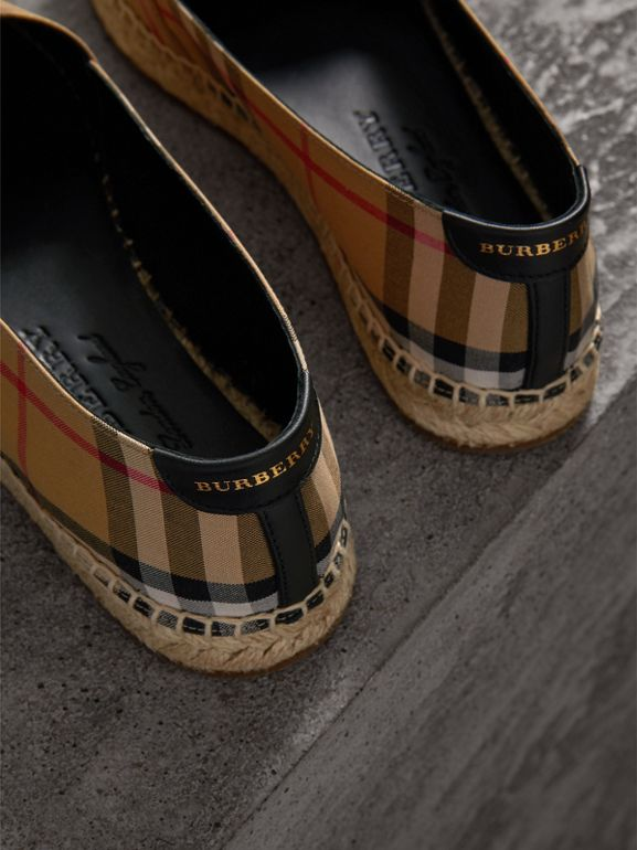 Vintage Check and Leather Espadrilles in Antique Yellow - Women | Burberry Hong Kong - cell image 1