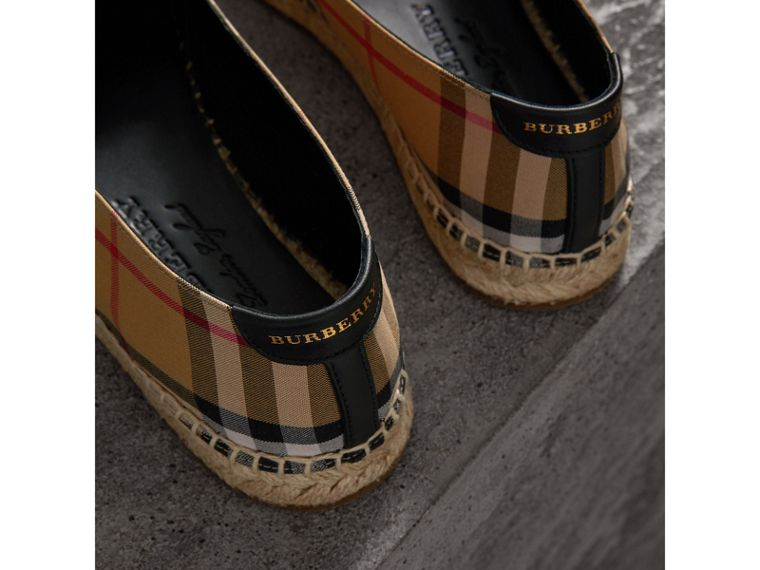 Vintage Check and Leather Espadrilles in Antique Yellow - Women | Burberry - cell image 1