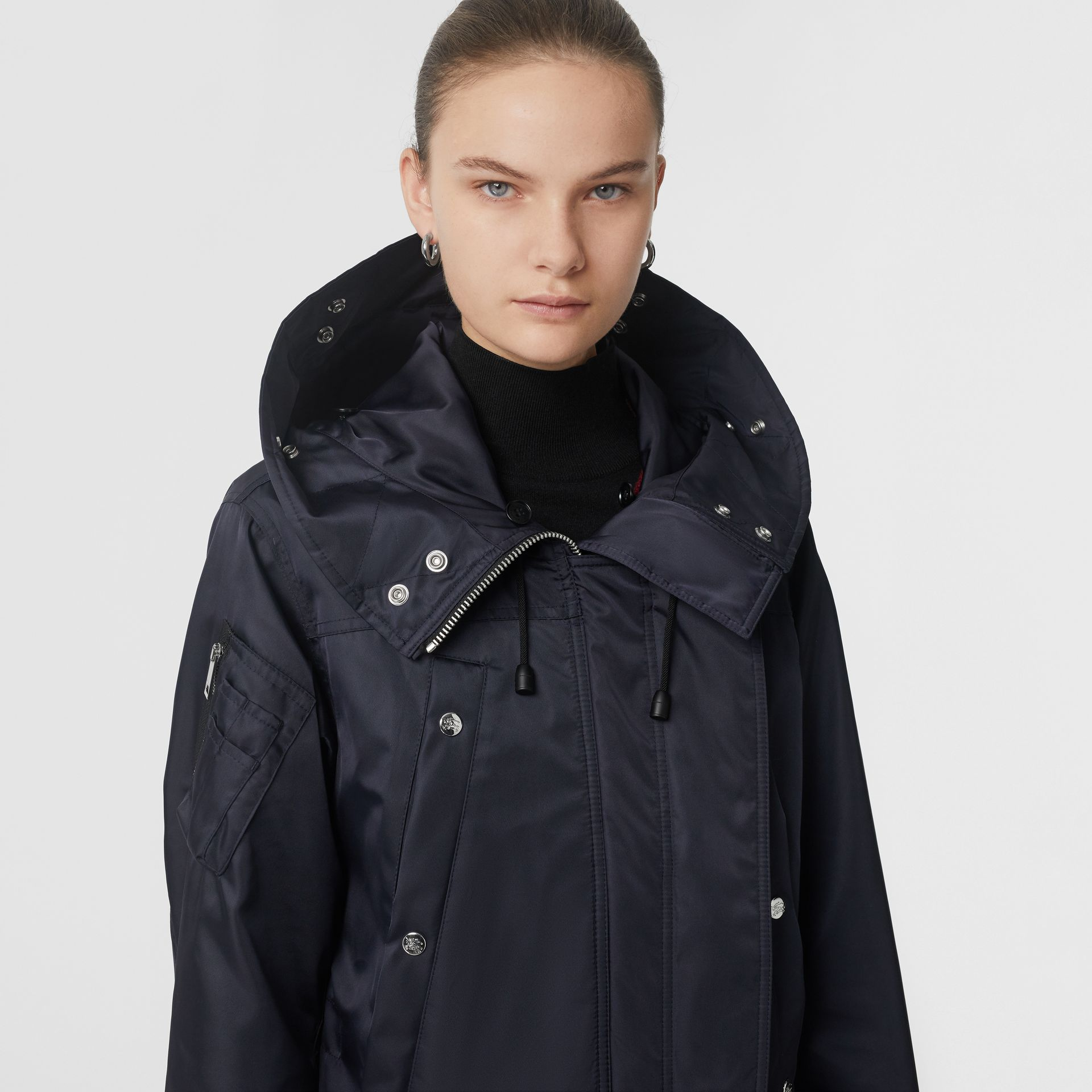 Detachable Faux Fur Trim Hood Parka in Dark Navy - Women | Burberry Australia - gallery image 1