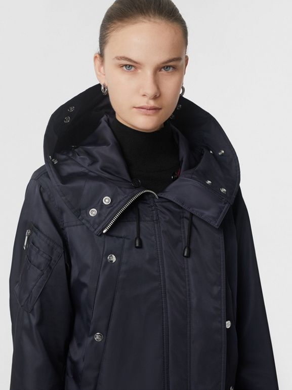 Faux Fur Trim Parka with Detachable Warmer in Dark Navy - Women | Burberry - cell image 1