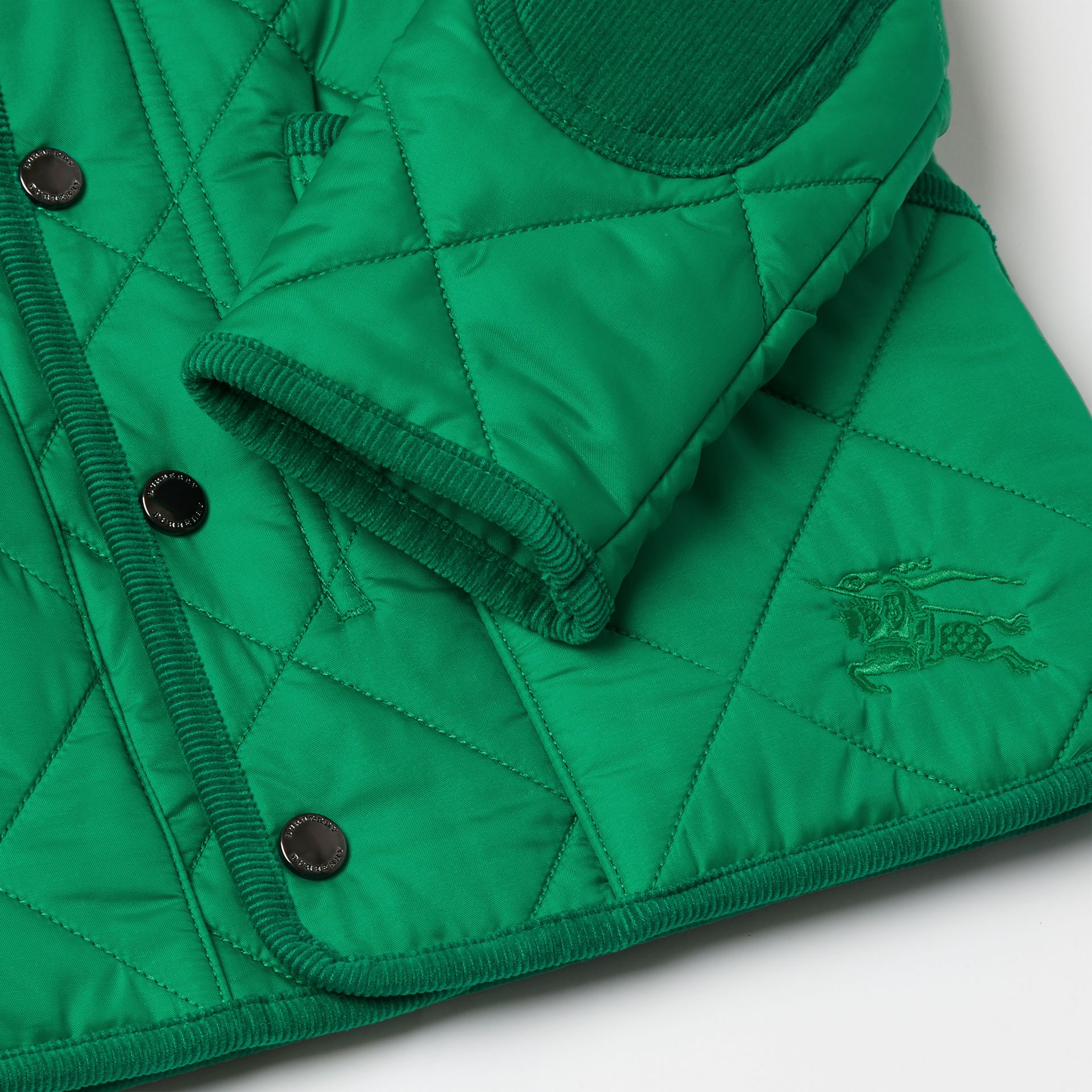 Corduroy Trim Diamond Quilted Jacket in Vibrant Green | Burberry - gallery image 1