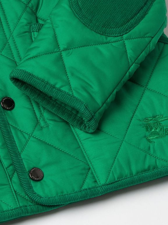 Corduroy Trim Diamond Quilted Jacket in Vibrant Green | Burberry - cell image 1
