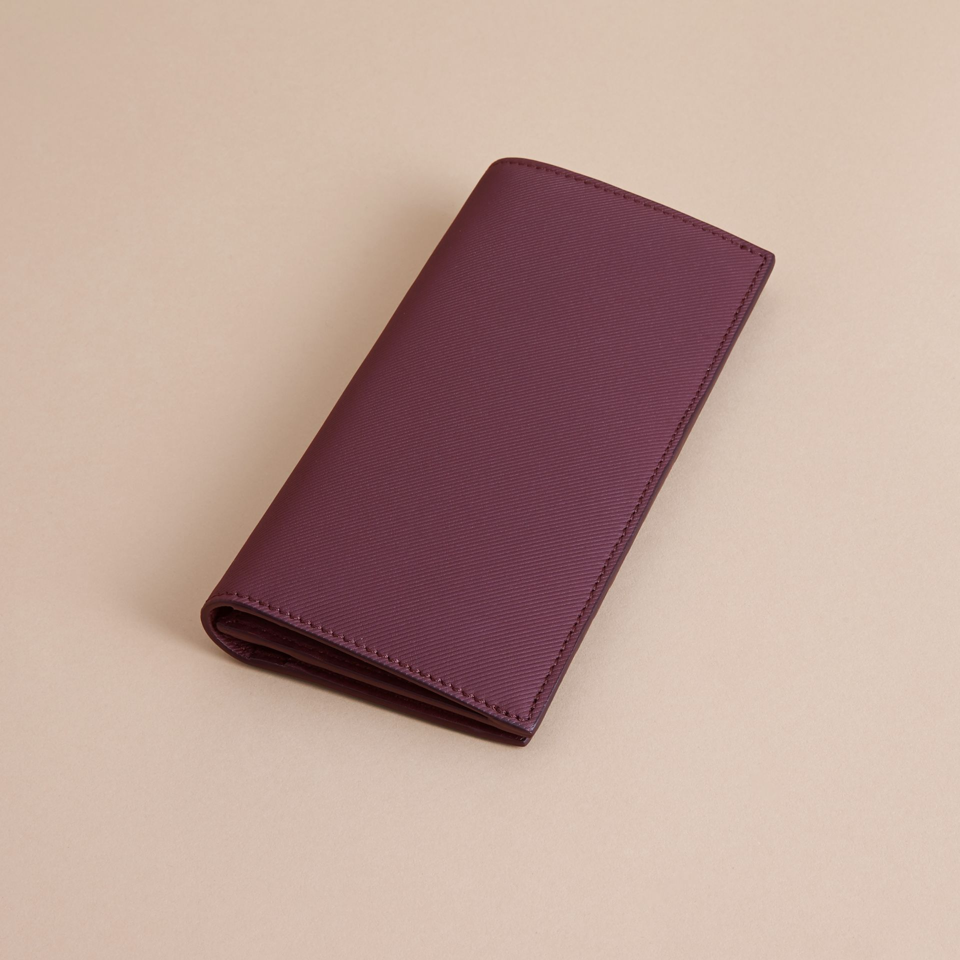 Trench Leather Continental Wallet in Wine - Men | Burberry - gallery image 4