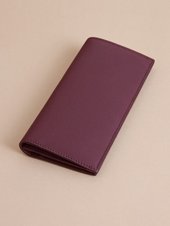 Trench Leather Continental Wallet in Wine - Men | Burberry - cell image 3