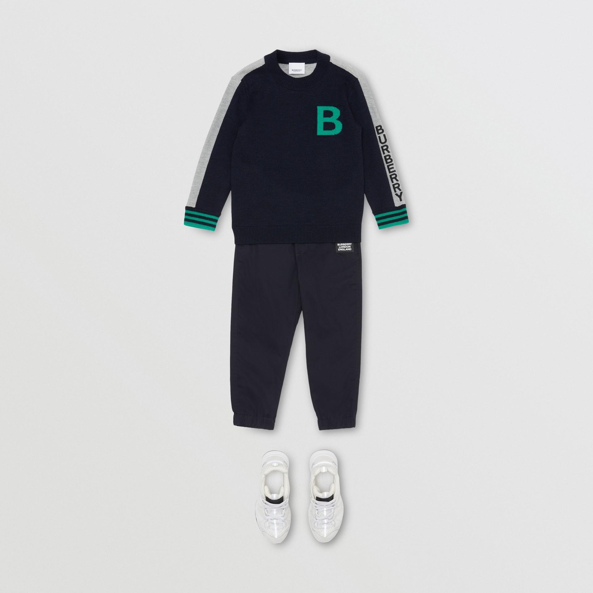 B Motif Merino Wool Jacquard Sweater in Navy | Burberry - gallery image 3