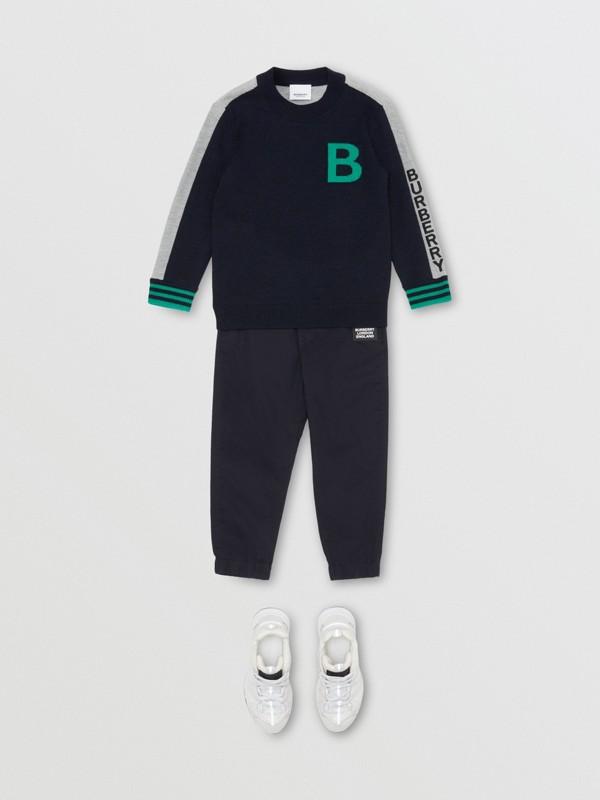 B Motif Merino Wool Jacquard Sweater in Navy | Burberry - cell image 3
