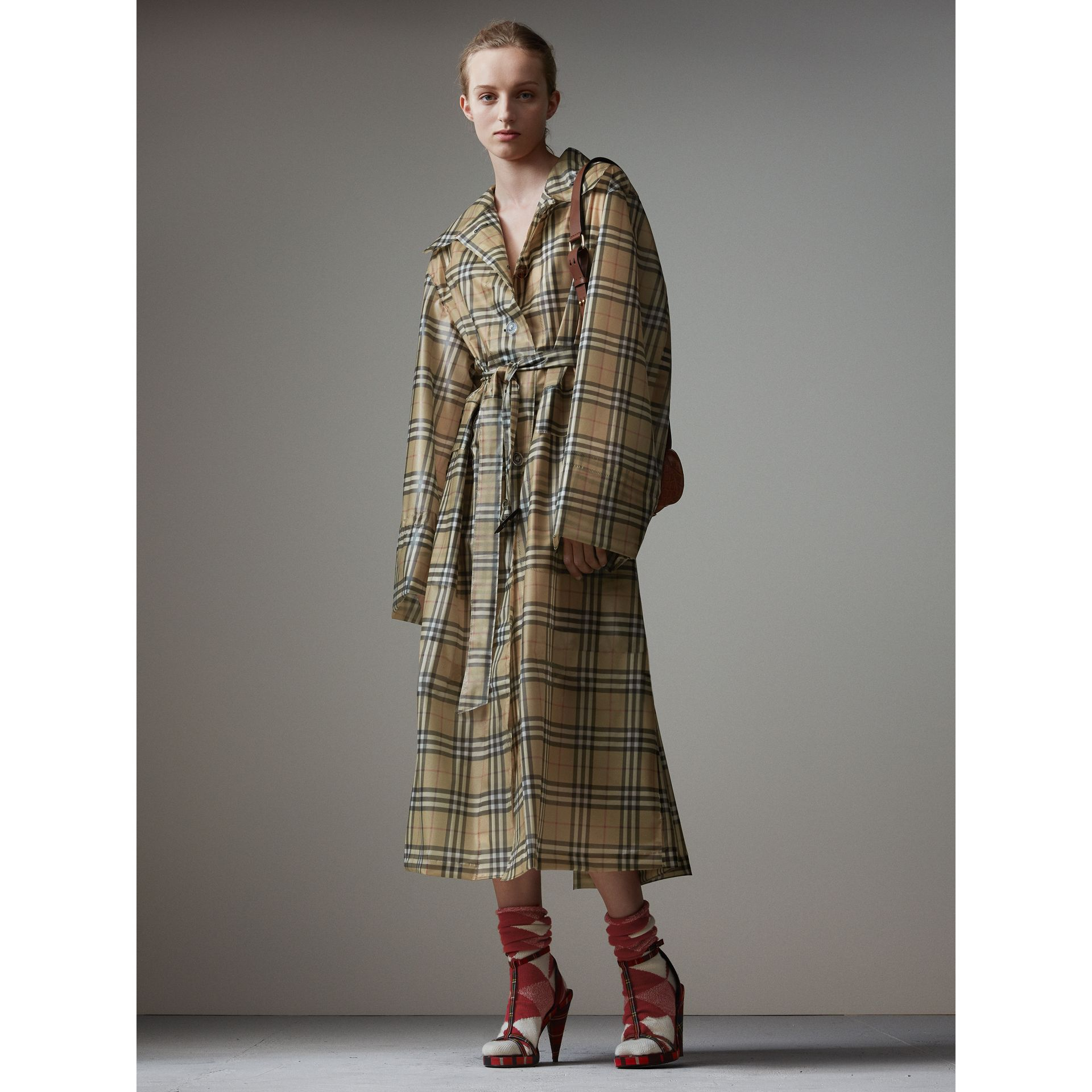 Vintage Check Soft-touch Plastic Single-breasted Coat in Antique Yellow - Women | Burberry - gallery image 1