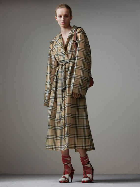 Vintage Check Soft-touch Plastic Single-breasted Coat in Antique Yellow