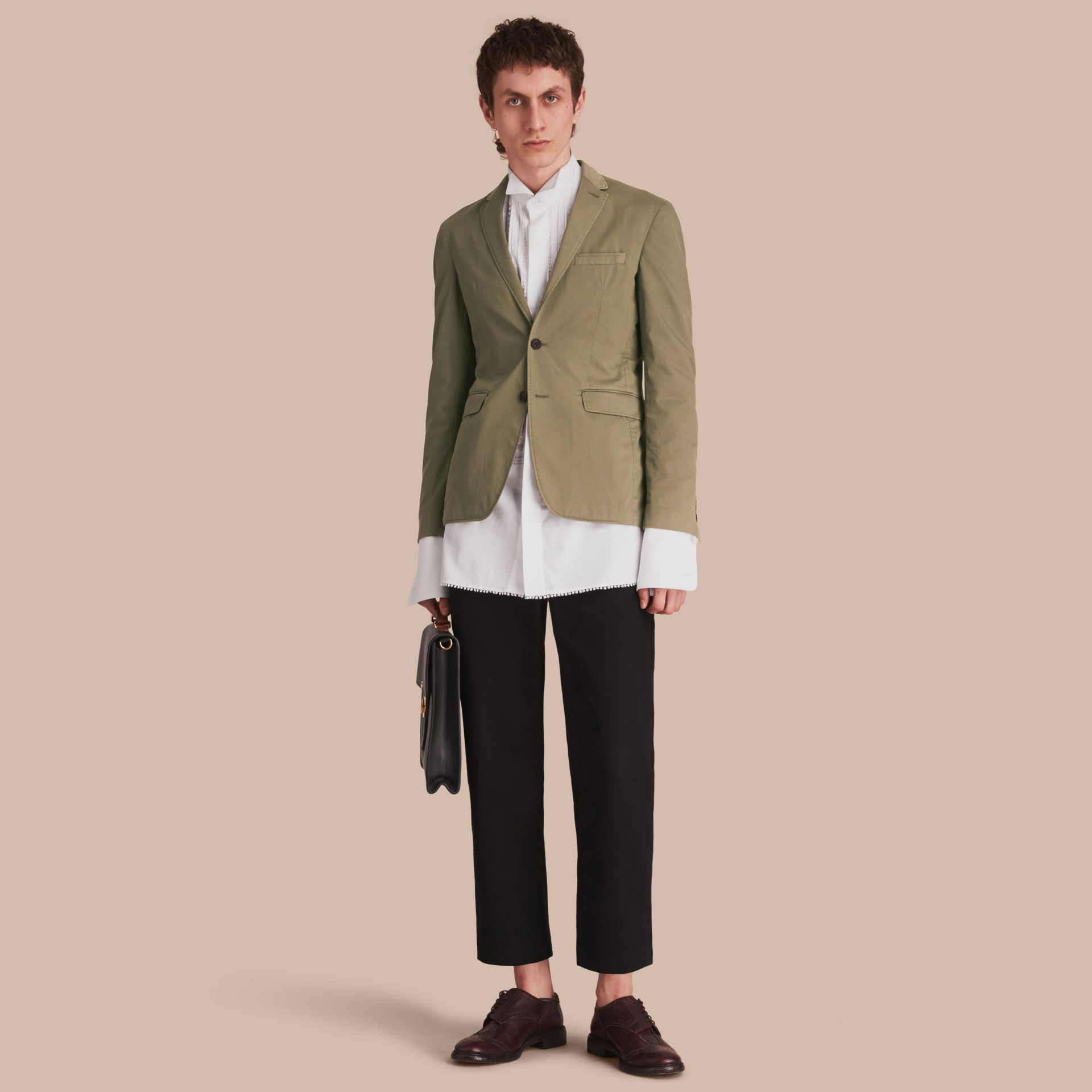Slim Fit Stretch-cotton Blazer Khaki Green - gallery image 1