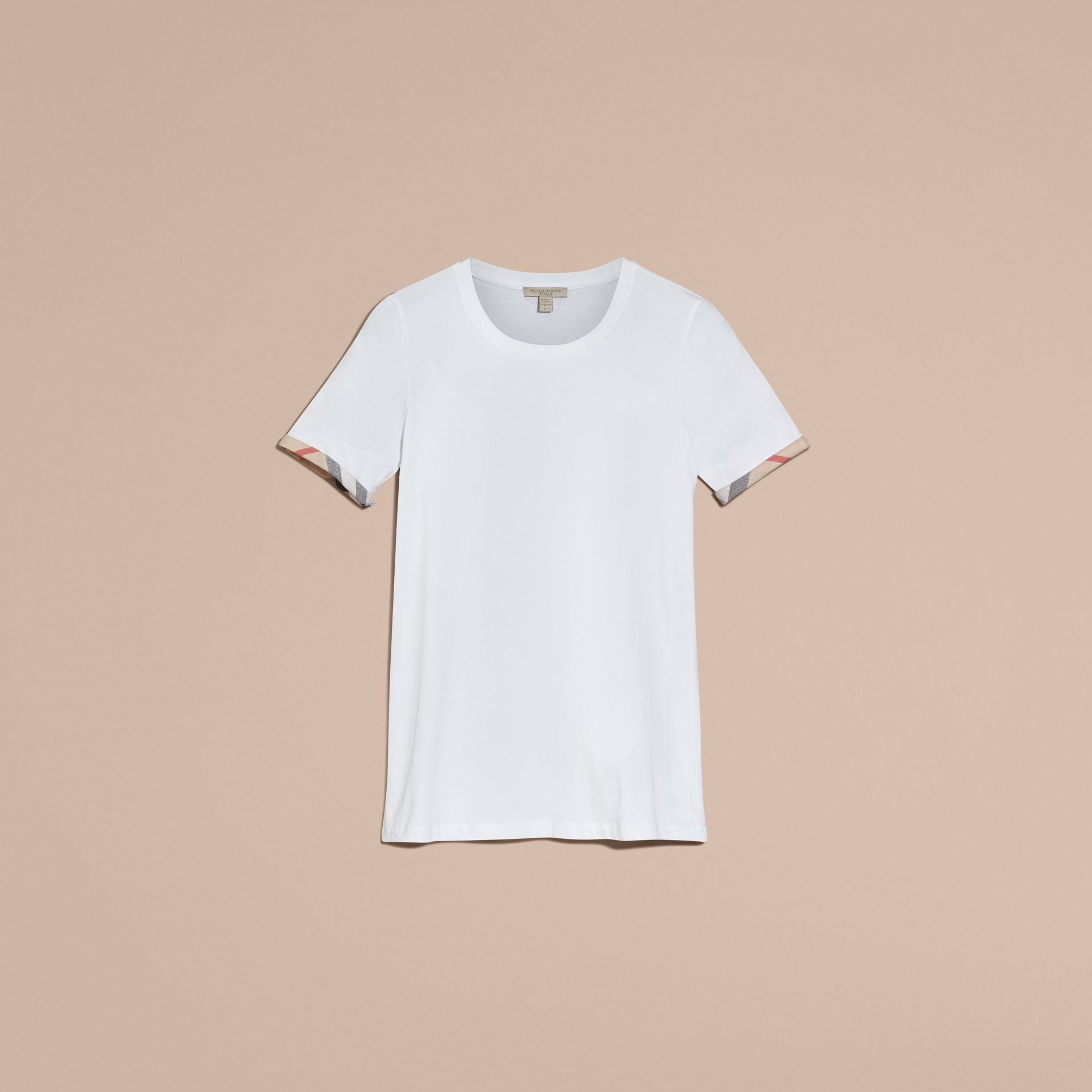 Check Cuff Stretch Cotton T-Shirt in White - Women | Burberry - gallery image 7