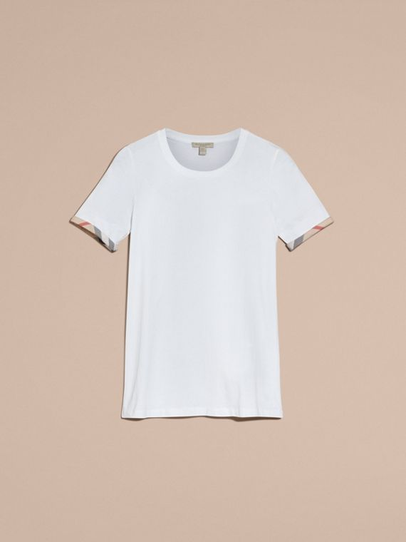 Check Cuff Stretch Cotton T-Shirt in White - Women | Burberry - cell image 3