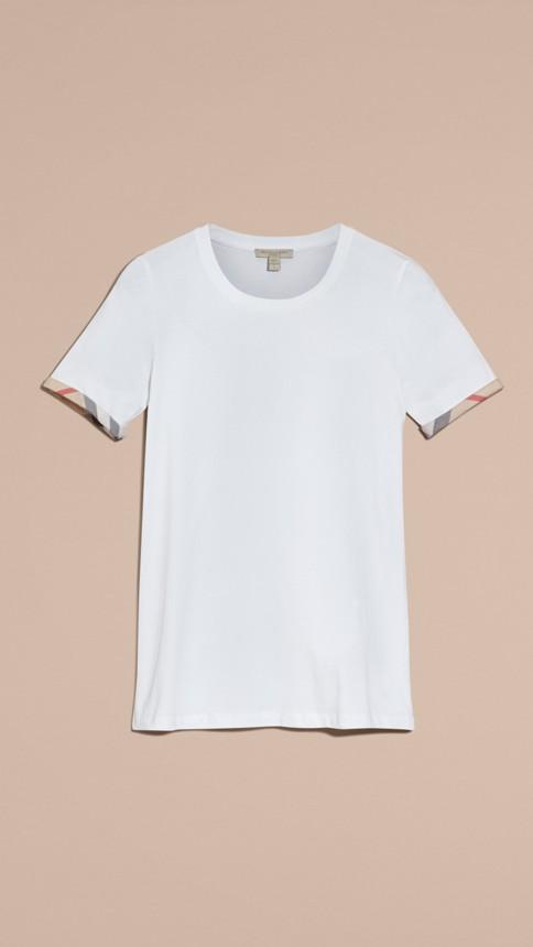 White Check Cuff Stretch Cotton T-Shirt White - Image 4