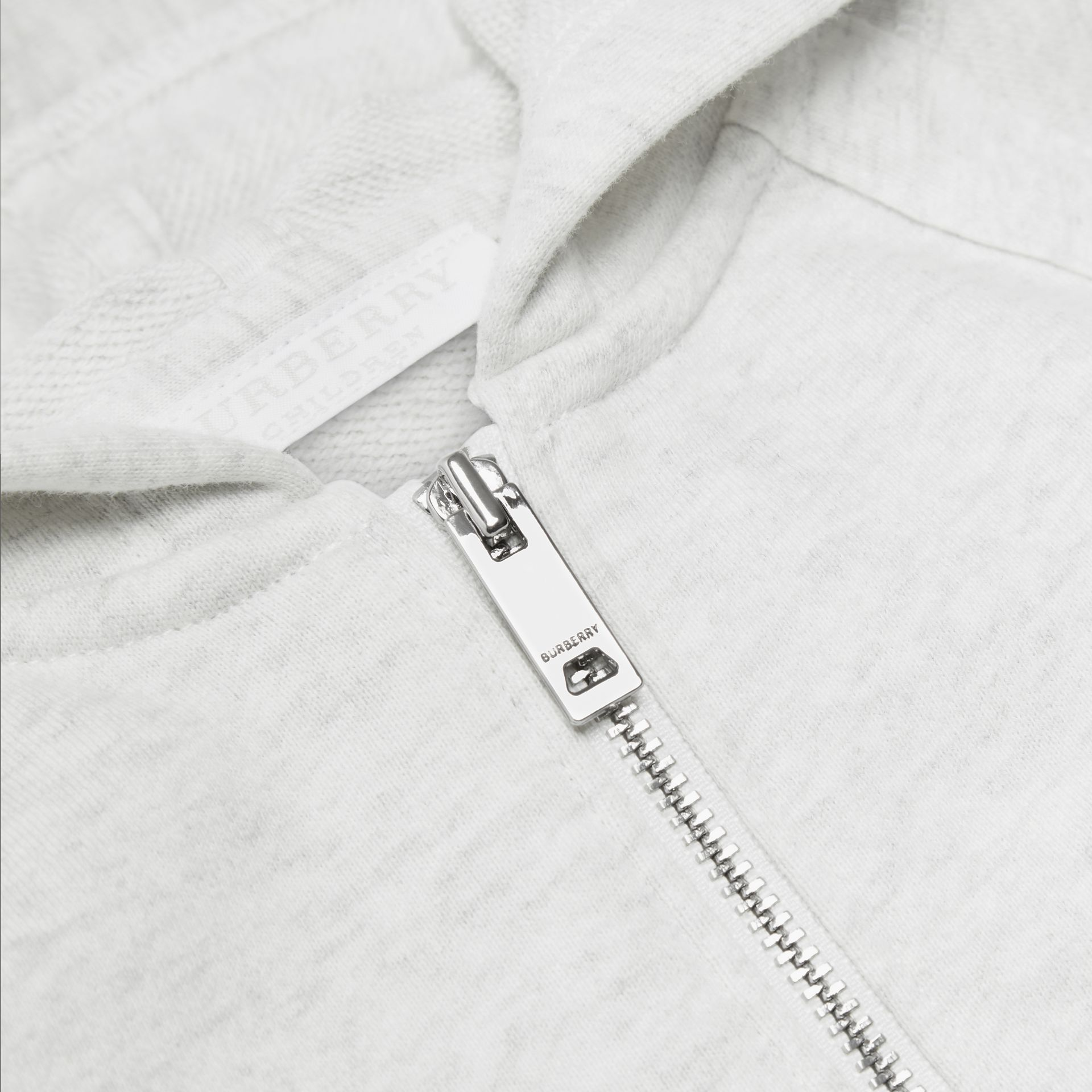 Logo Print Cotton Hooded Top in White Melange - Children | Burberry - gallery image 1