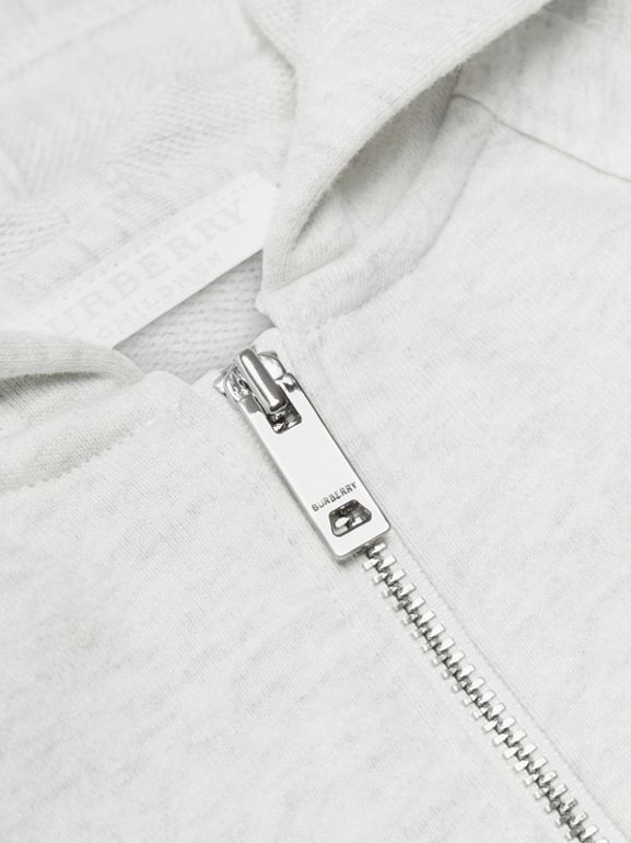 Logo Print Cotton Hooded Top in White Melange - Children | Burberry - cell image 1
