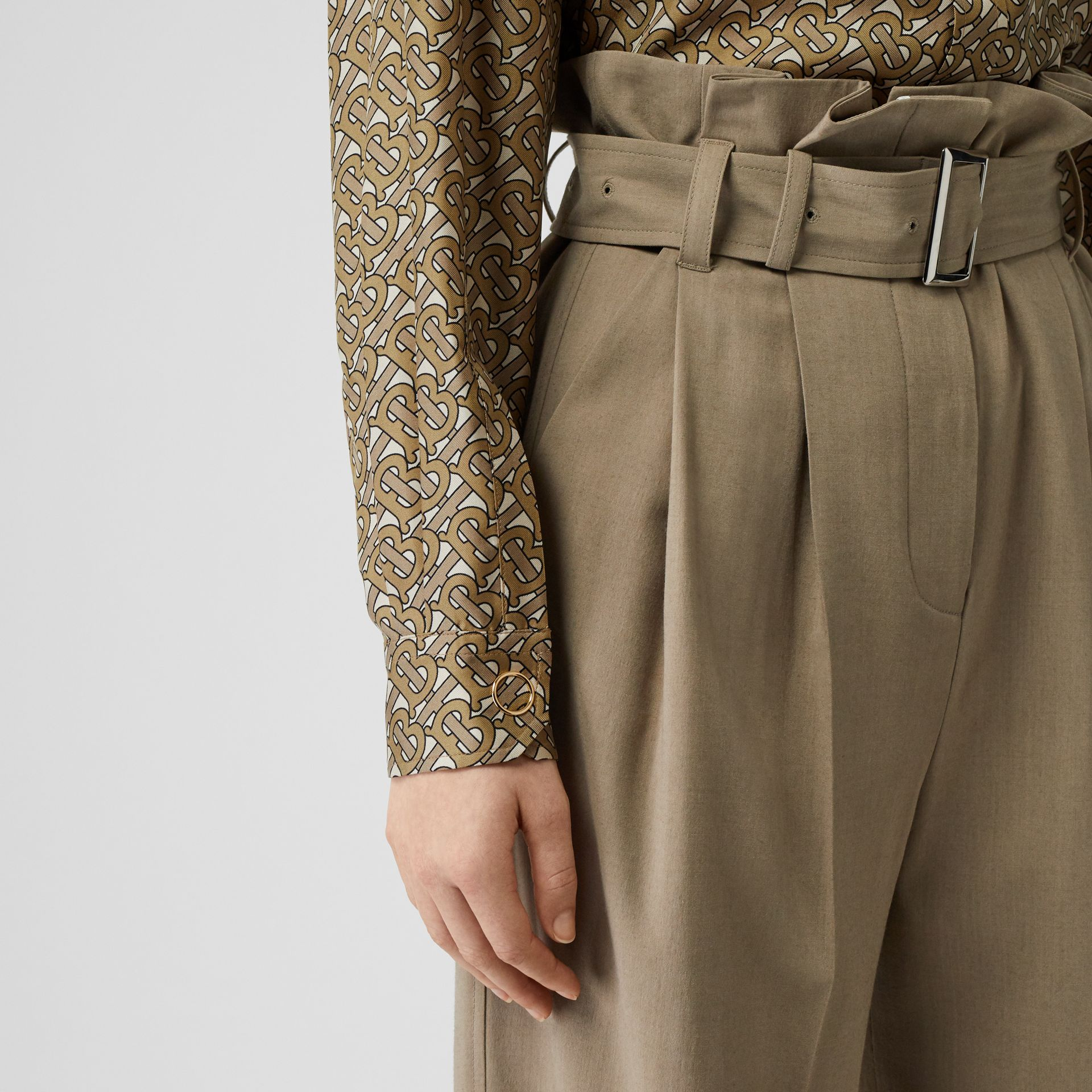 Contrast Collar Monogram Print Silk Shirt in Military Olive - Women | Burberry - gallery image 4