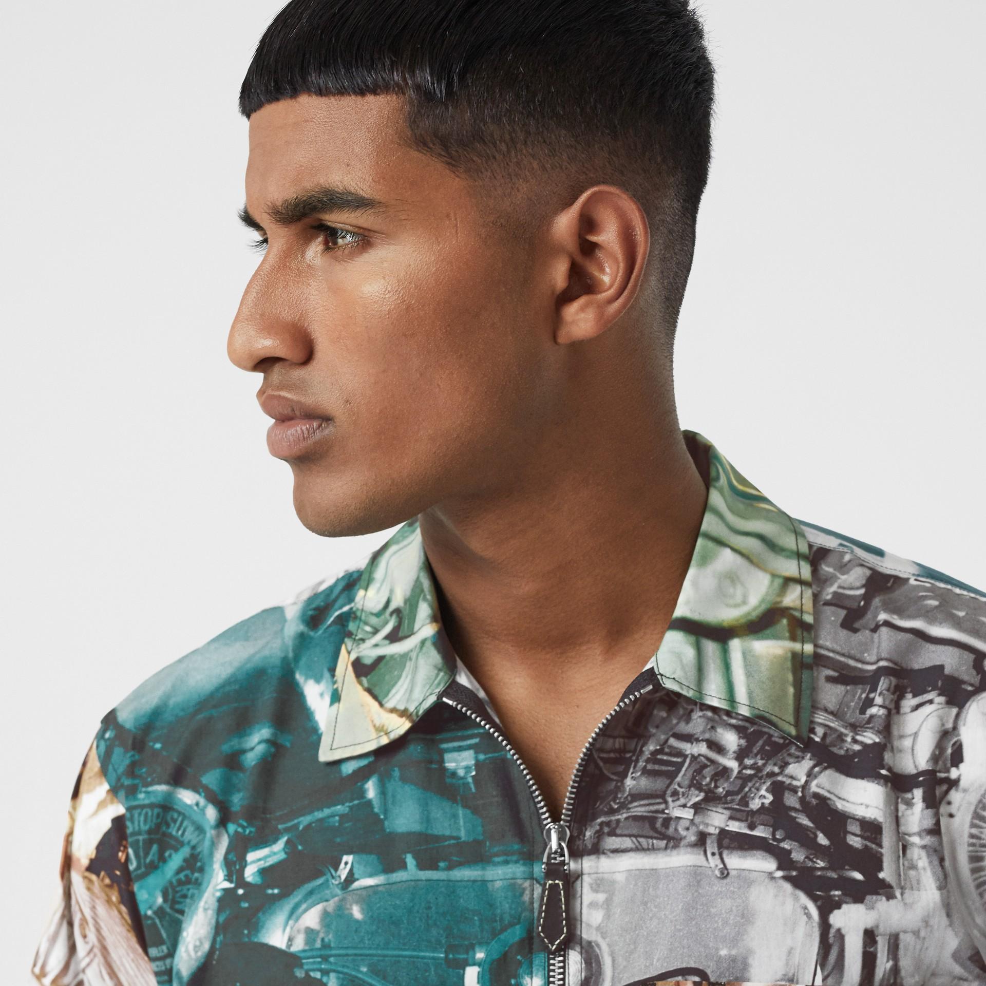 Short-sleeve Submarine Print Cotton Shirt in Multicolour - Men | Burberry United Kingdom - gallery image 5