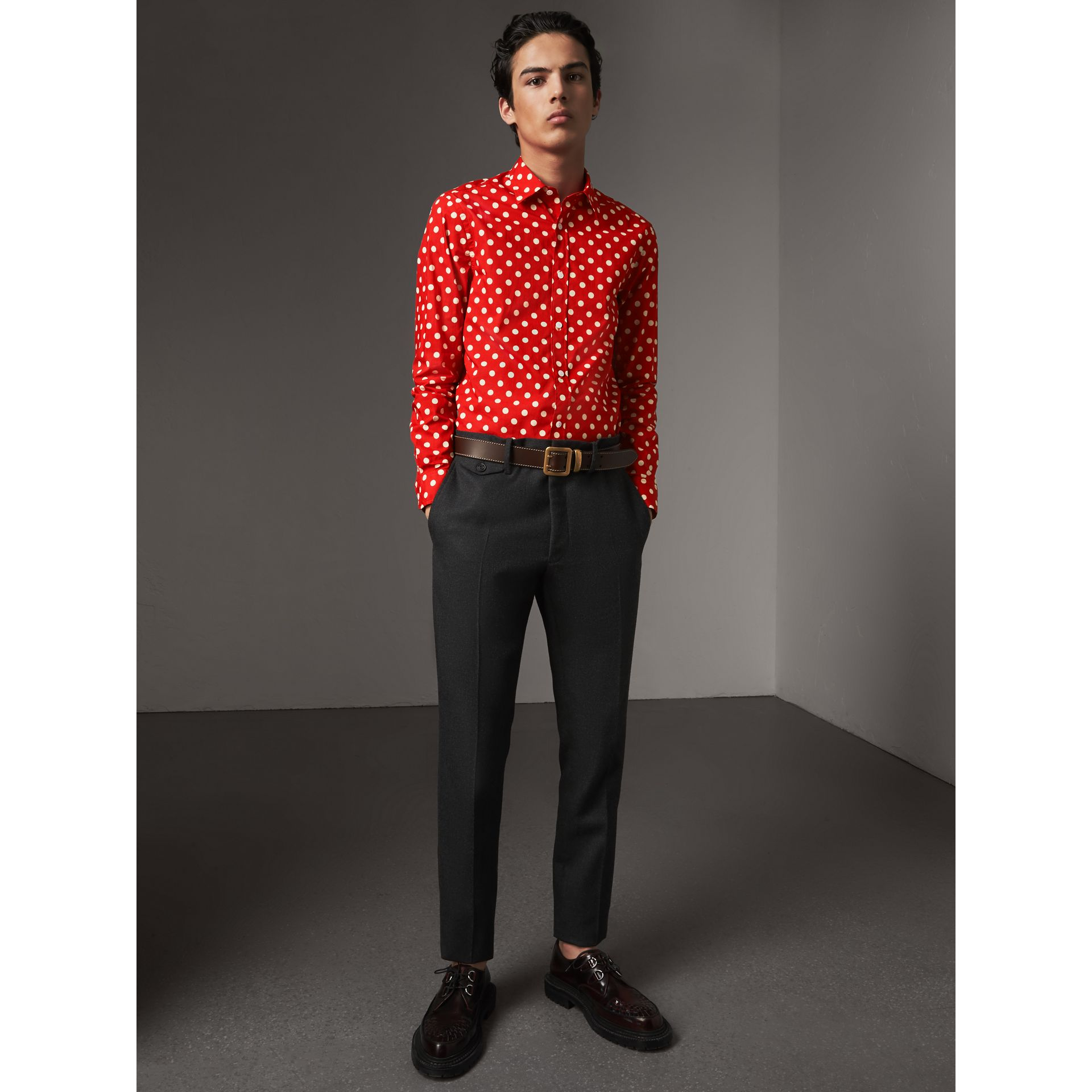 Polka-dot Cotton Flannel Shirt in Bright Orange Red - Men | Burberry - gallery image 5