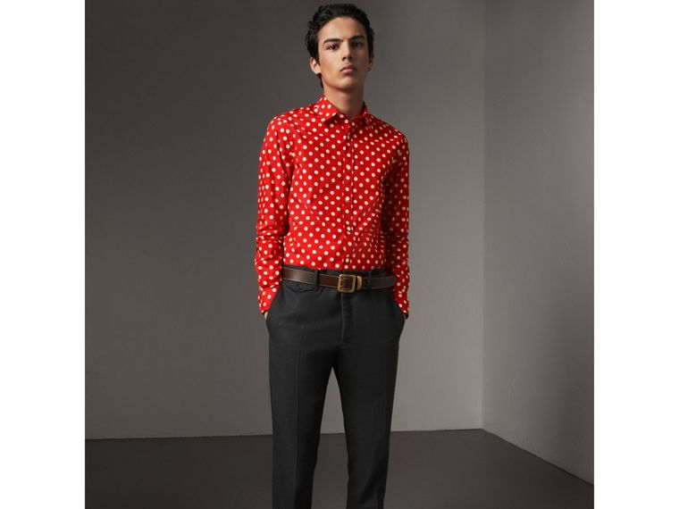 Polka-dot Cotton Flannel Shirt in Bright Orange Red - Men | Burberry - cell image 4