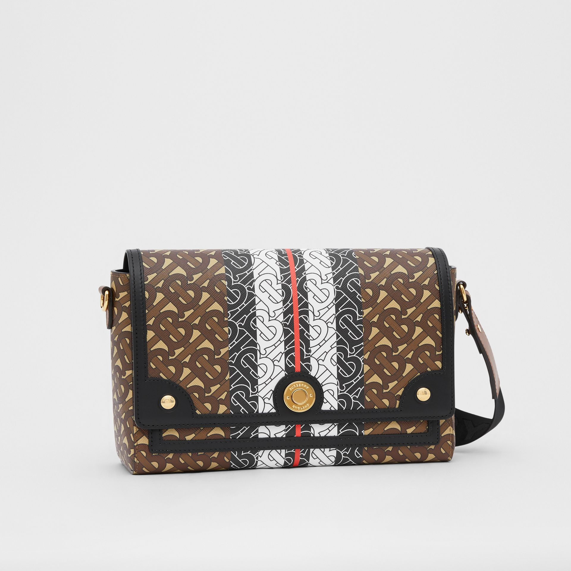 Monogram Stripe E-canvas Note Crossbody Bag in Bridle Brown - Women | Burberry - gallery image 6