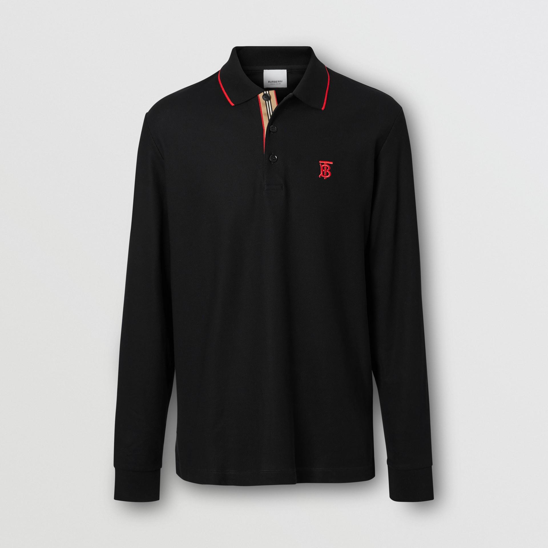 Camisa polo de algodão piquê com mangas longas e monograma (Preto) - Homens | Burberry - galeria de imagens 3