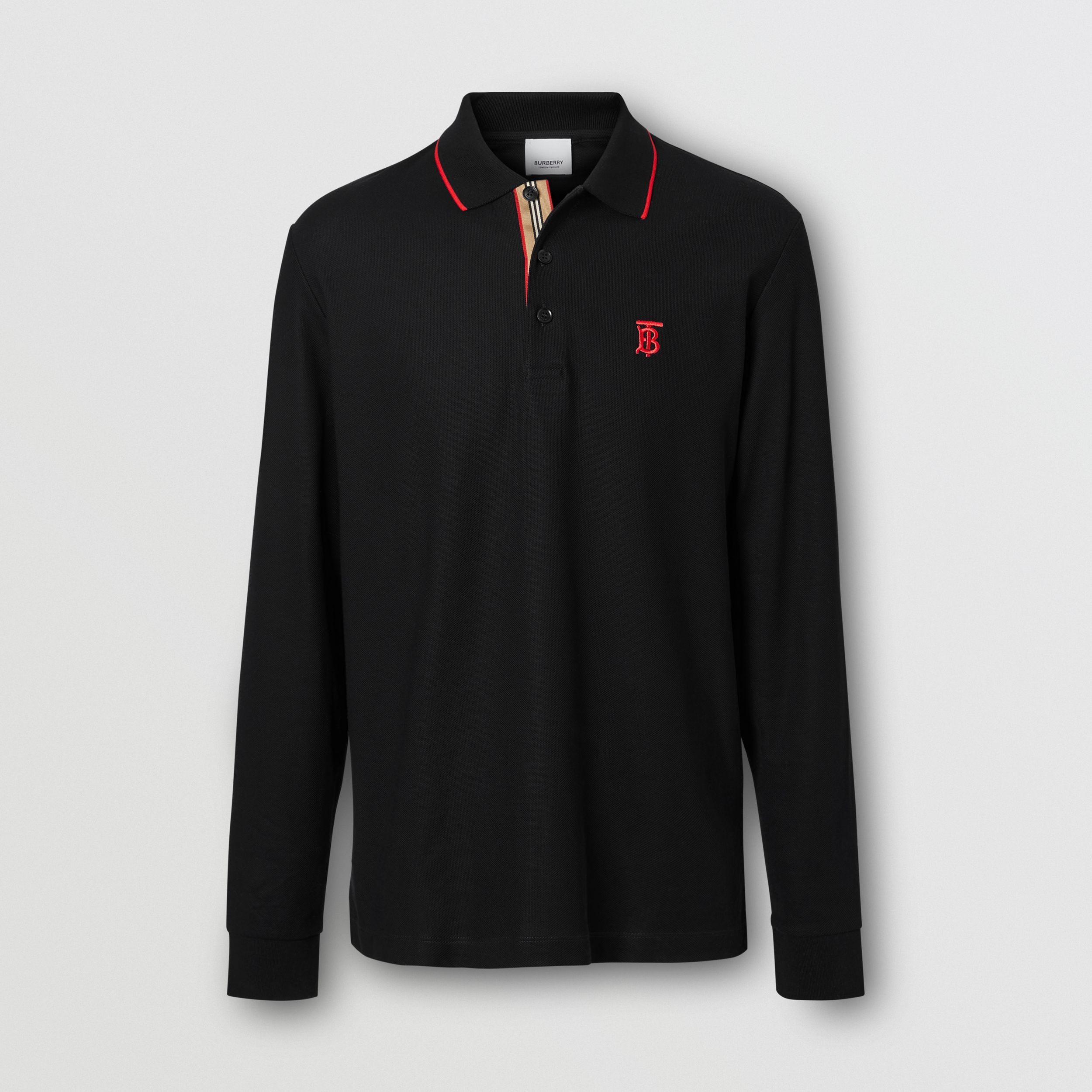 Long-sleeve Monogram Motif Cotton Piqué Polo Shirt in Black - Men | Burberry Hong Kong S.A.R. - 4