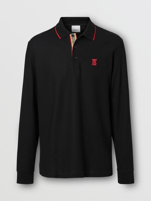 Camisa polo de algodão piquê com mangas longas e monograma (Preto) - Homens | Burberry - cell image 3
