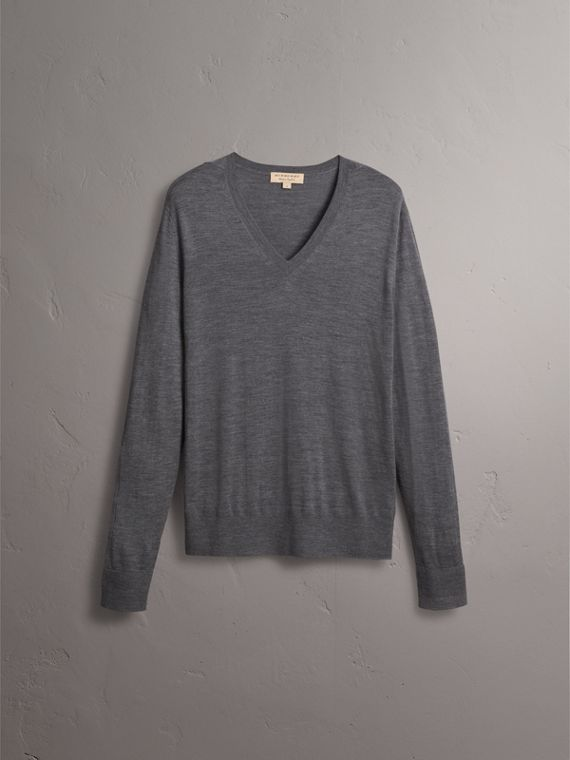 Merino Wool V-neck Sweater in Mid Grey Melange - Men | Burberry - cell image 3