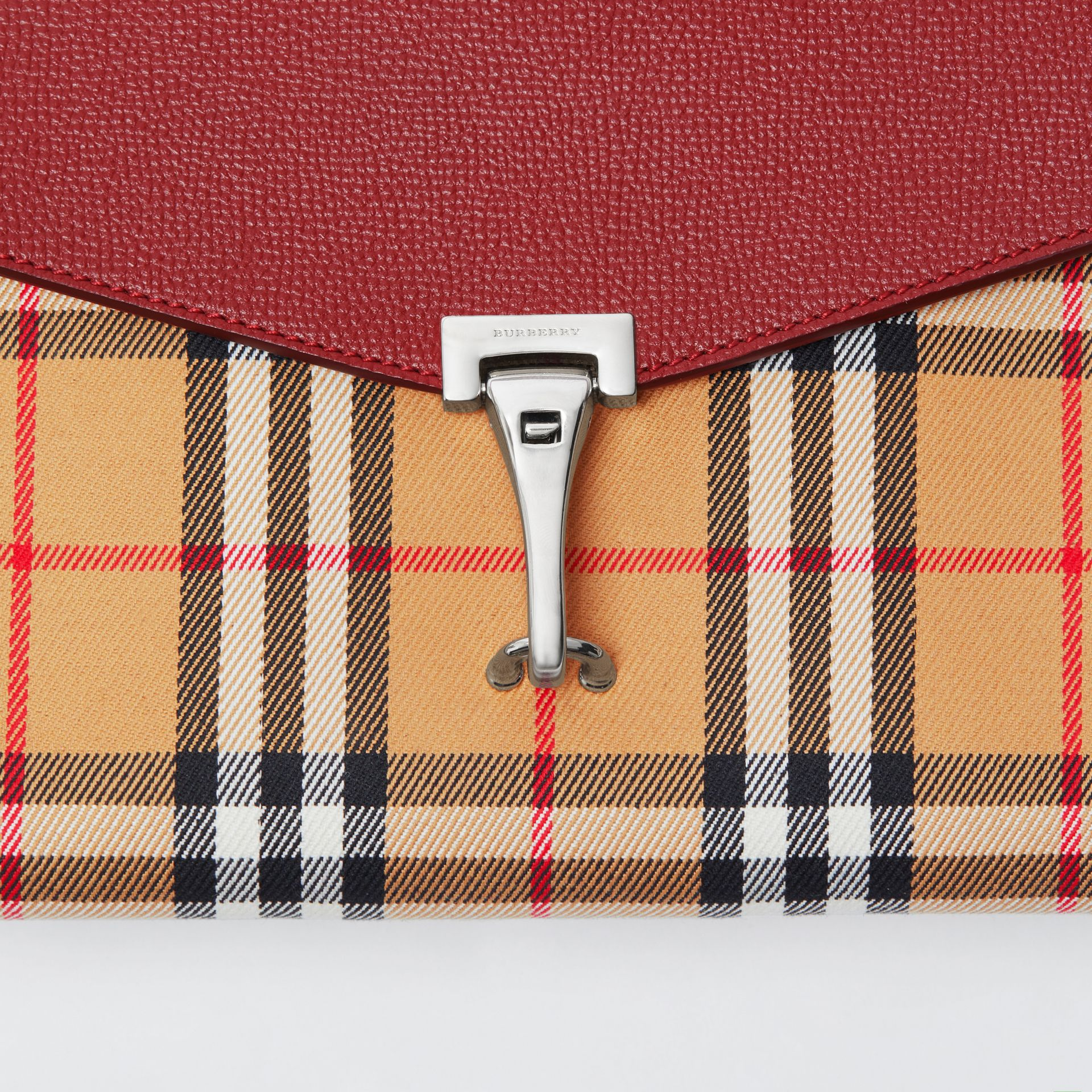 Small Vintage Check and Leather Crossbody Bag in Crimson - Women | Burberry Australia - gallery image 1