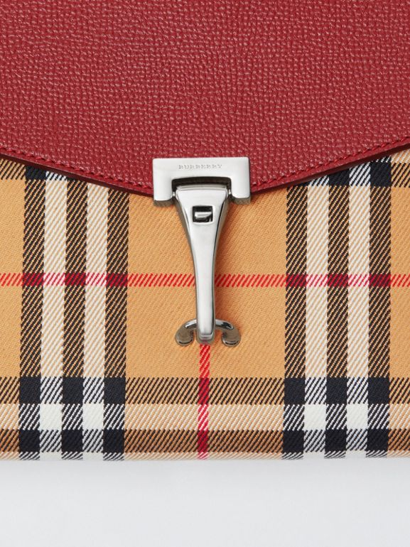 Small Vintage Check and Leather Crossbody Bag in Crimson - Women | Burberry Australia - cell image 1