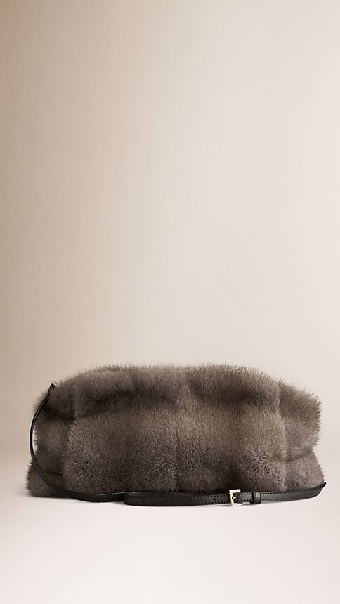Mid grey melange Mink Clutch Bag - Image 3