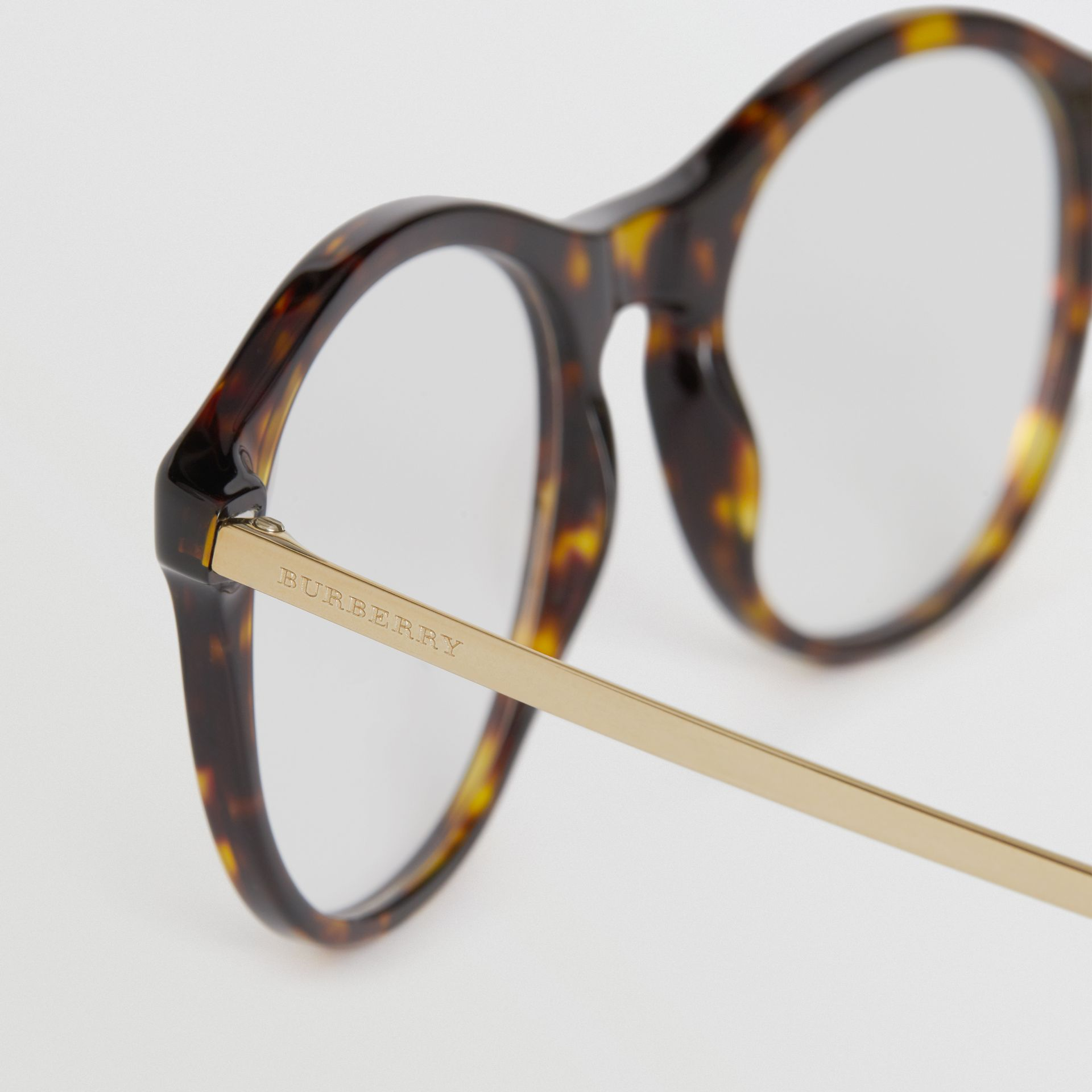 Round Optical Frames in Tortoise Shell - Women | Burberry - gallery image 1