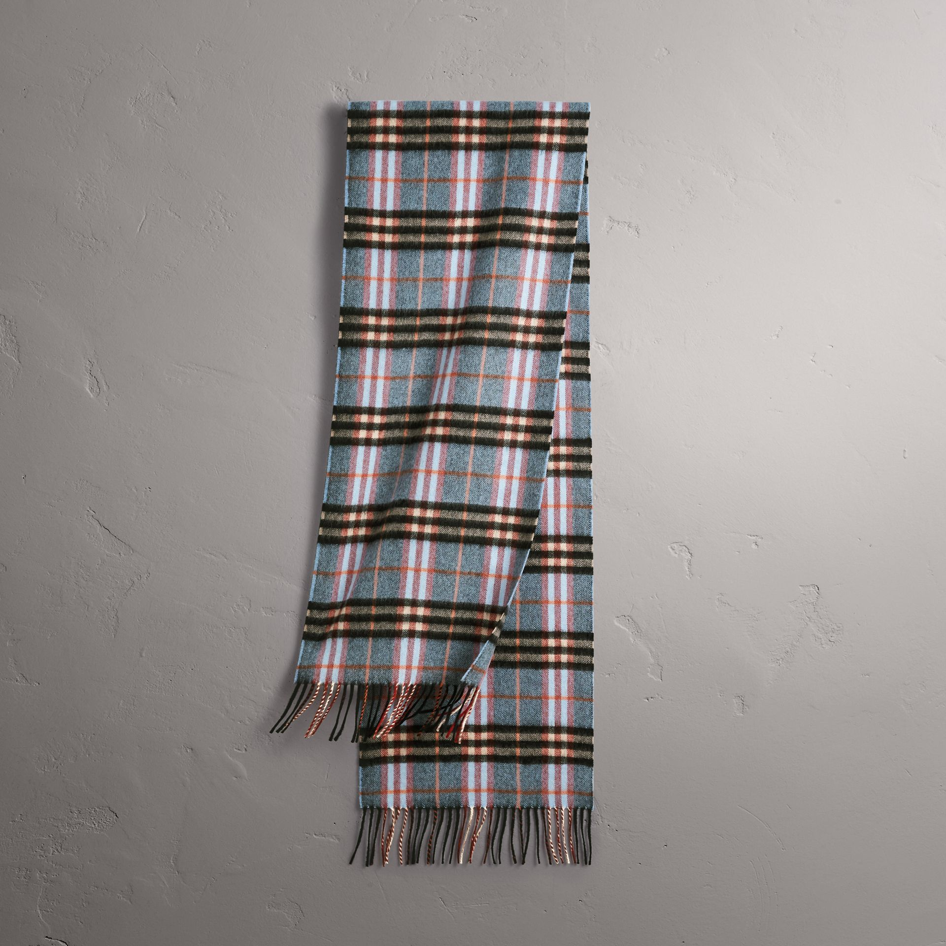 Check Cashmere Scarf in Pale Carbon Blue | Burberry - gallery image 0