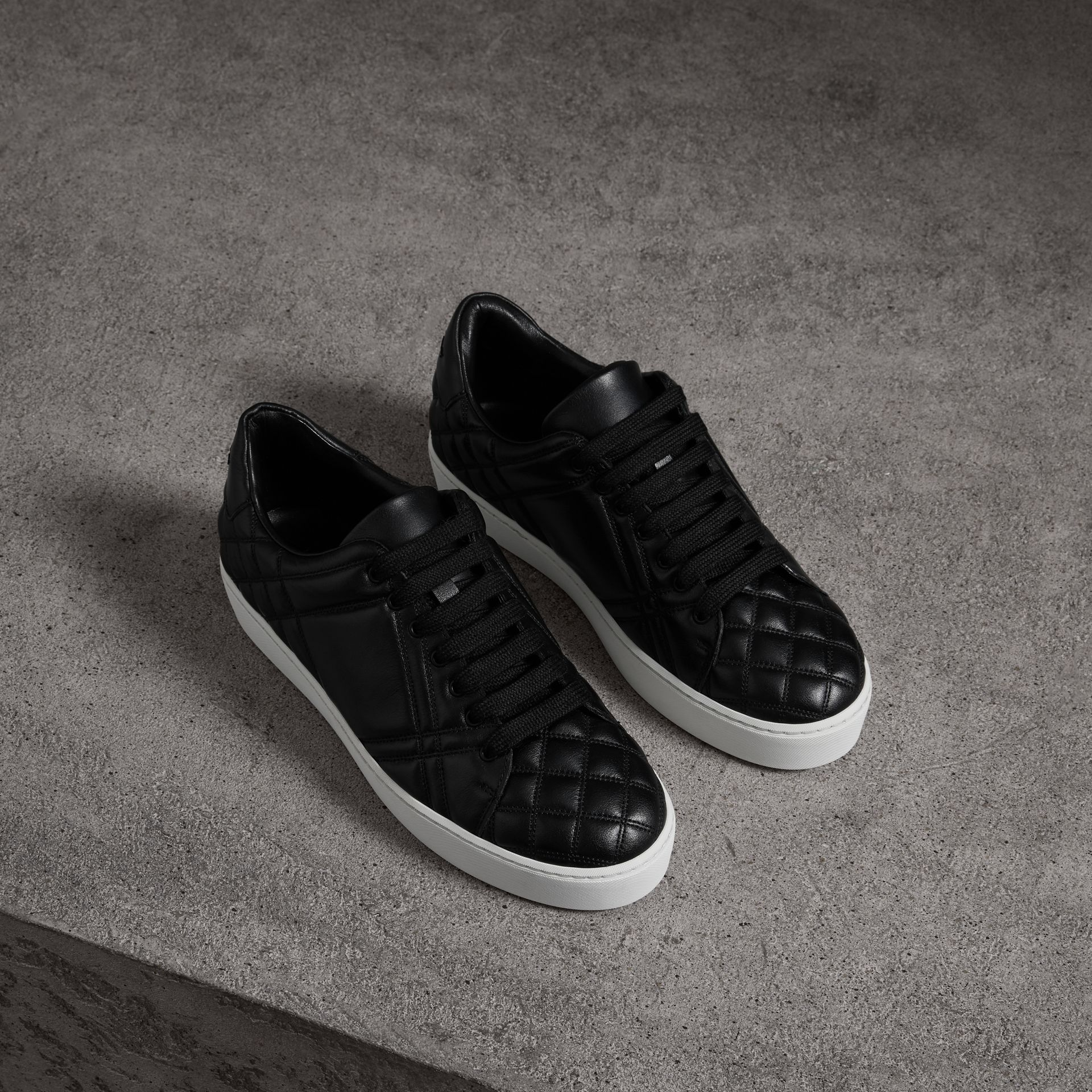 Check-quilted Leather Sneakers in Black - Women | Burberry United Kingdom - gallery image 0