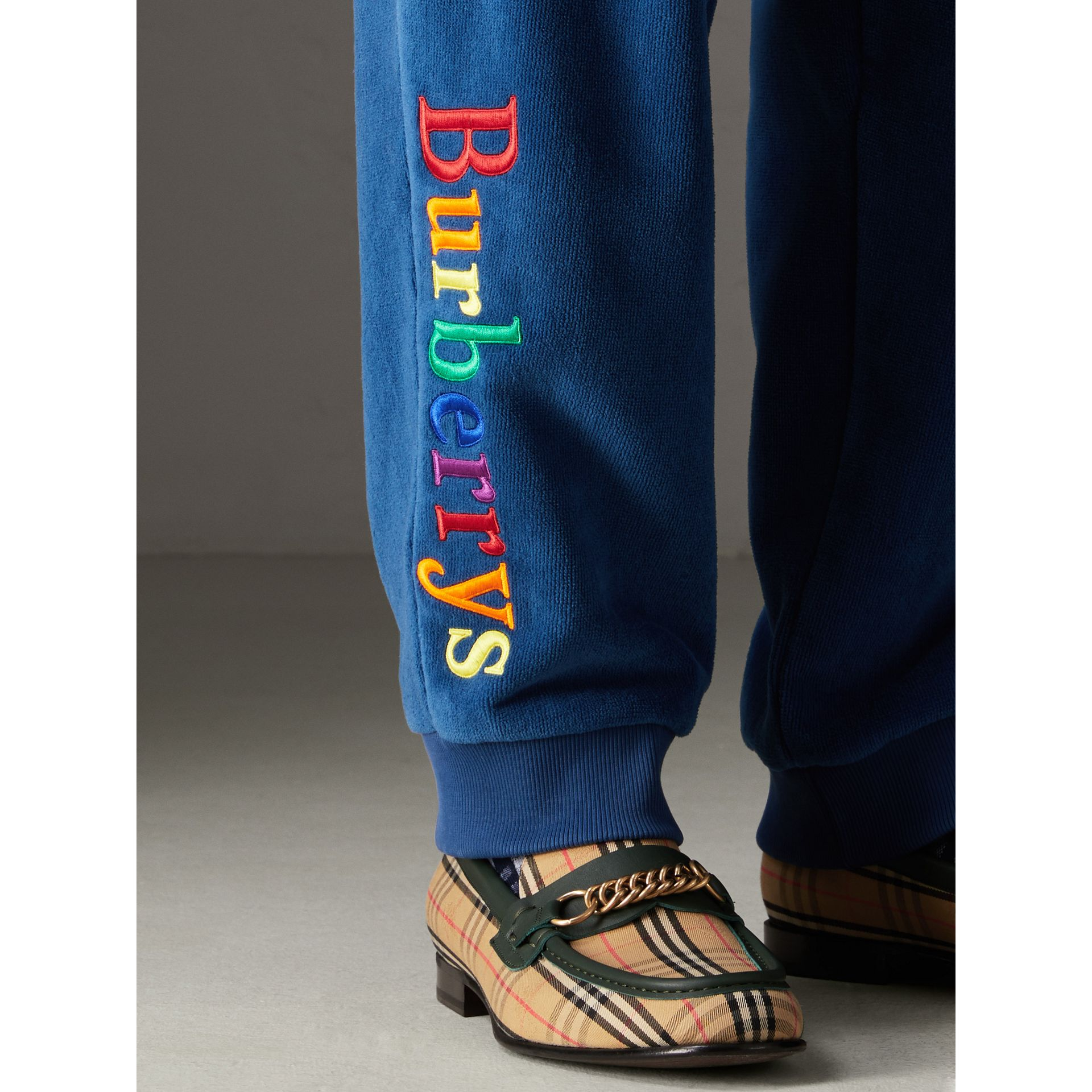 Archive Logo Towelling Sweatpants in Canvas Blue | Burberry Australia - gallery image 1