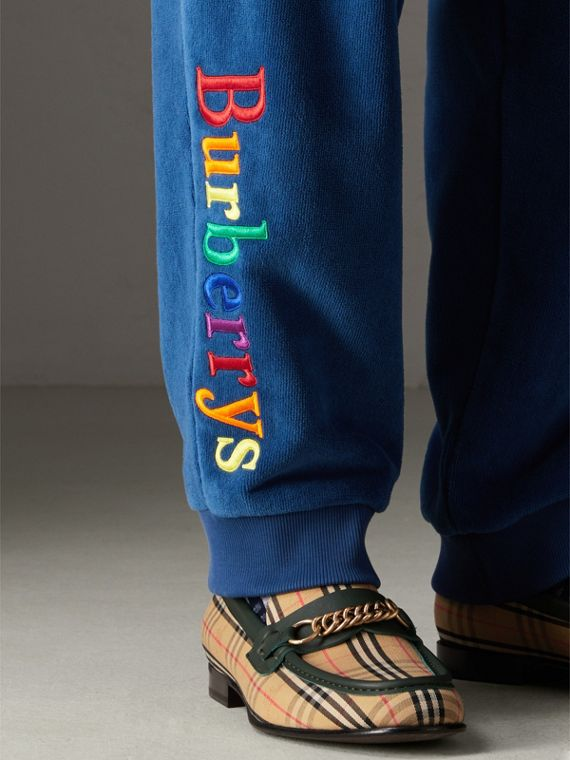 Archive Logo Towelling Sweatpants in Canvas Blue