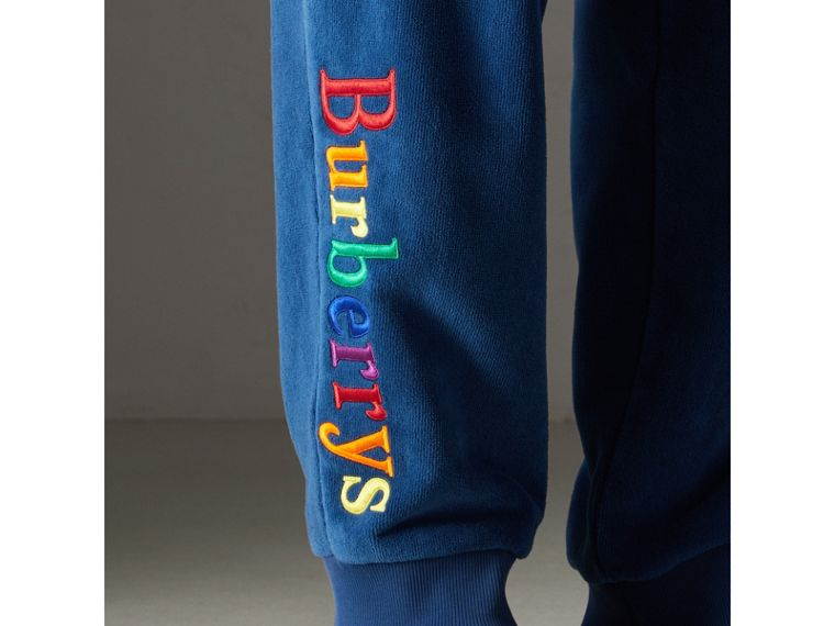 Archive Logo Towelling Sweatpants in Canvas Blue | Burberry - cell image 1