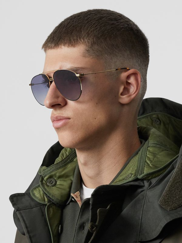 Top Bar Detail Pilot Sunglasses in Gold / Blue - Men | Burberry - cell image 2