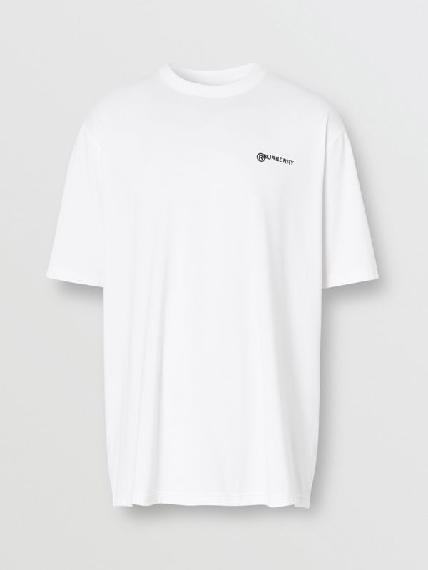 Location Print Cotton Oversized T-shirt in White - Men | Burberry - cell image 3