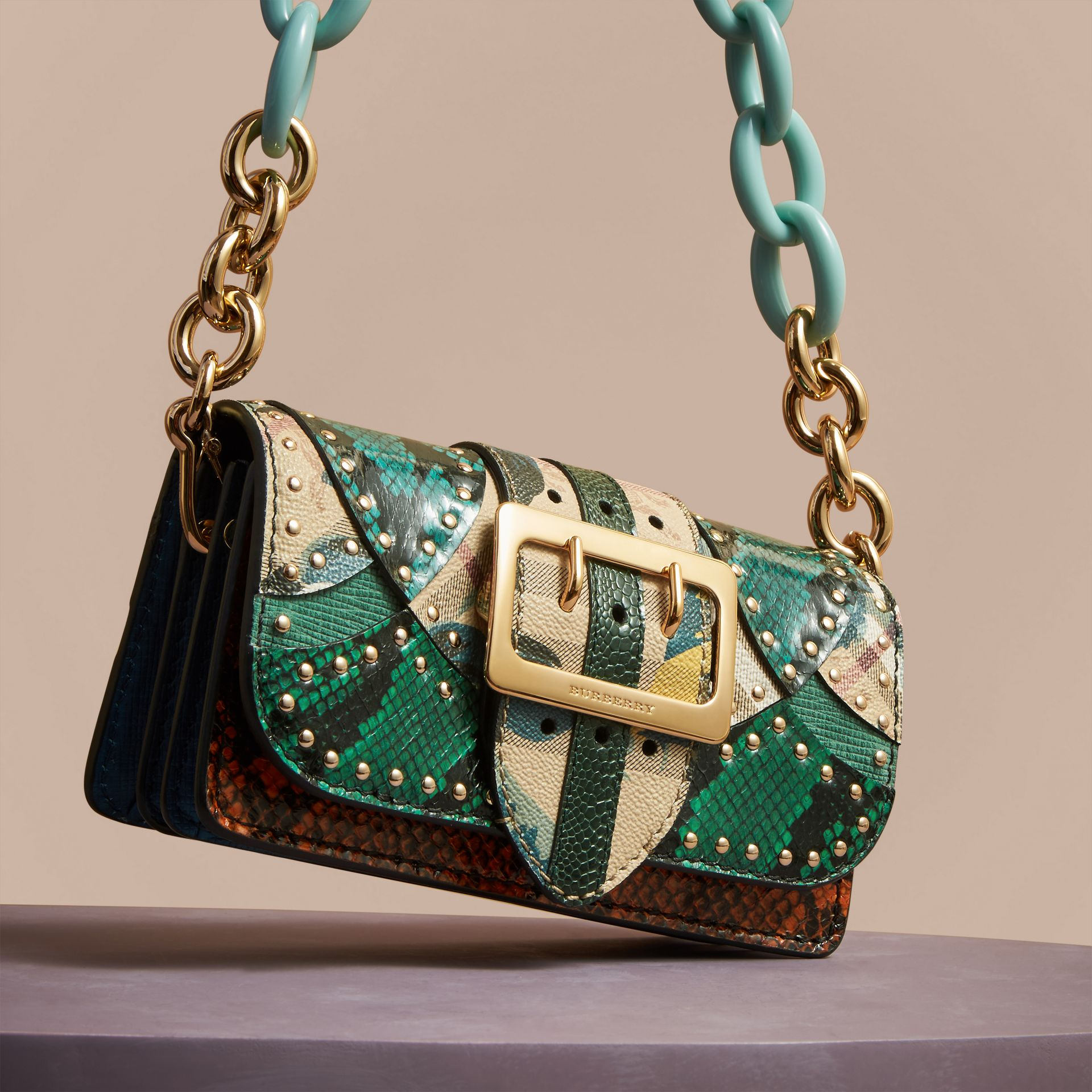 Turquoise The Small Buckle Bag in Riveted Snakeskin and Floral Print - gallery image 6