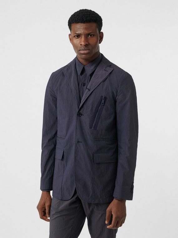 Crinkled Cotton Blend Tailored Jacket in Navy
